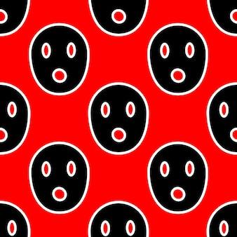 Naadloos patroon met enge gezichten