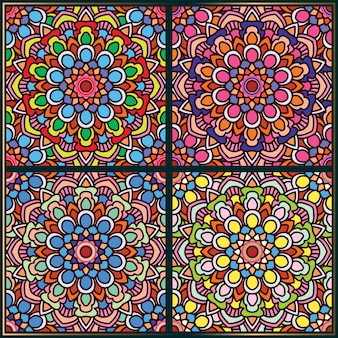 Naadloos patroon met etnische bloemenmandalakunstmotieven