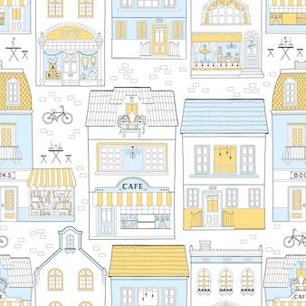 Naadloos patroon met europese huizen
