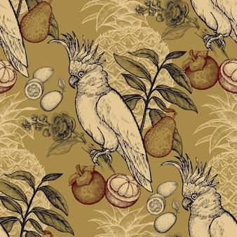 Naadloos patroon met exotisch fruit en kaketoe.