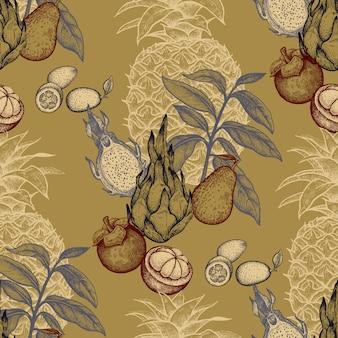 Naadloos patroon met exotisch fruit.