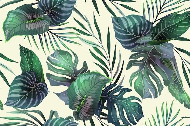 Naadloos patroon met exotische tropische planten