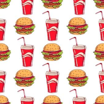 Naadloos patroon met fast food-thema