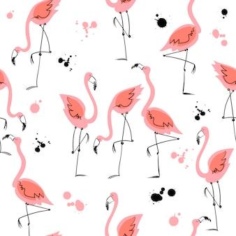 Naadloos patroon met flamingo's