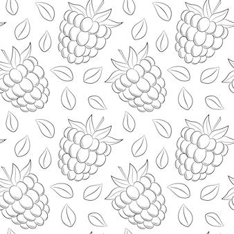 Naadloos patroon met frambozen en bladeren. eenvoudige zwart-wit handgetekende lineaire elementen