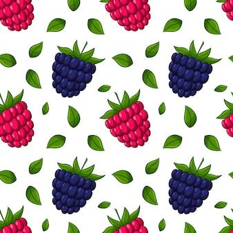 Naadloos patroon met frambozen en bramen en bladeren.