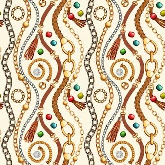 Naadloos patroon met franje, riemen en kettingen.
