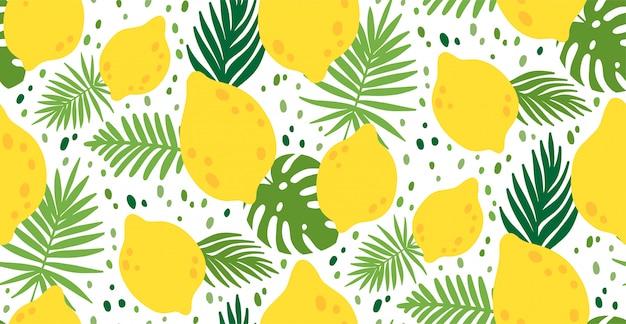 Naadloos patroon met geel citroenfruit en bladeren
