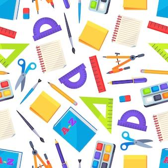 Naadloos patroon met geïsoleerde kantoorbehoeftenvoorwerpen