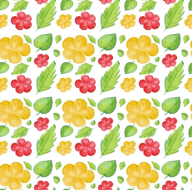Naadloos patroon met gele en rode bloemen