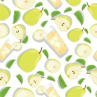 Naadloos patroon met gele peer en perenstreep.