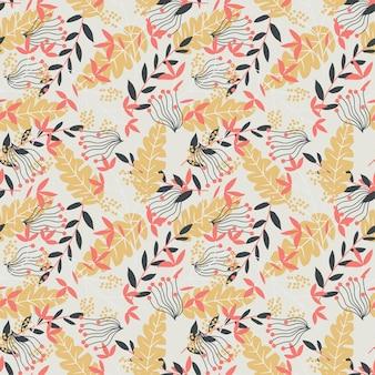 Naadloos patroon met gele, rode en donkere tropische bladeren
