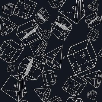 Naadloos patroon met geometrische vormen. rechthoekige parallellepipedum, schuine parallellepipedum, recht prisma, hellend prisma, afgeknotte piramide, kegel.