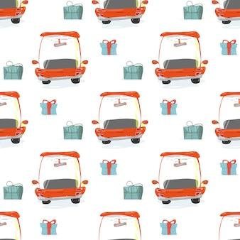 Naadloos patroon met geschenkdozen en rode auto's