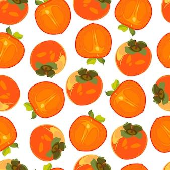 Naadloos patroon met gesneden kaki persimmon fruitpatroon op witte achtergrond