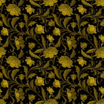 Naadloos patroon met gestileerde sierbloemen in retro goud en zwart.