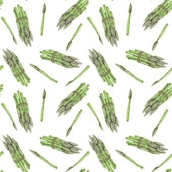 Naadloos patroon met getrokken asperghand
