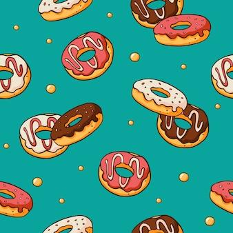 Naadloos patroon met getrokken hand van de krabbelhand donuts