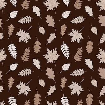 Naadloos patroon met gevallen herfstbladeren vectorillustratie