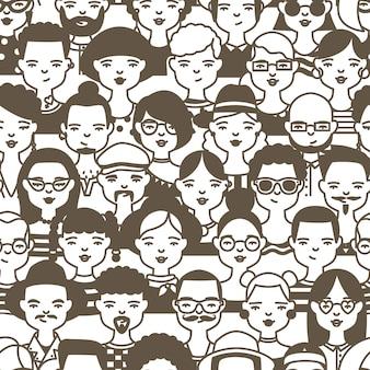 Naadloos patroon met gezichten of hoofden van schattige lachende mensen