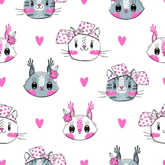Naadloos patroon met gezichten van katten en eekhoorn.