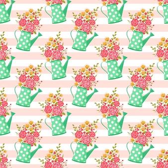 Naadloos patroon met gieter en bloemen.