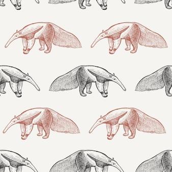 Naadloos patroon met gigantische miereneter.