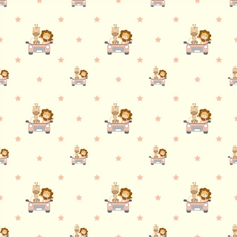 Naadloos patroon met giraf en leeuw die een auto drijven.