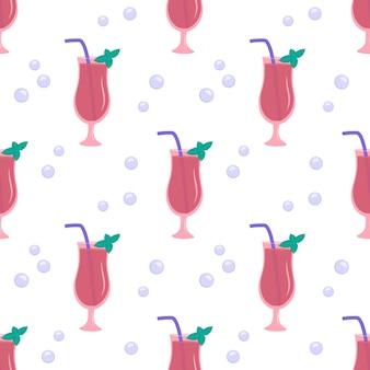 Naadloos patroon met glazen roze cocktailmunt en bubbels vakantiedruk met alcoholdrank