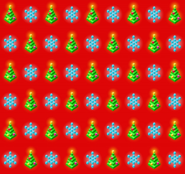 Naadloos patroon met gloeiende kerstmisbomen en sneeuwvlokken