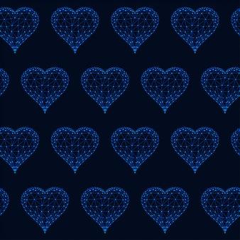 Naadloos patroon met gloeiende lage veelhoekige harten