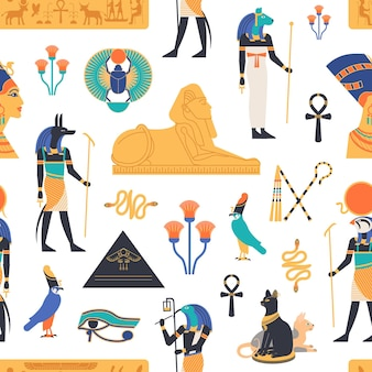 Naadloos patroon met goden, goden en mythologische wezens uit de oude egyptische mythologie en religie, heilige dieren, symbolen, architectuur en beeldhouwkunst. kleurrijke platte vectorillustratie.