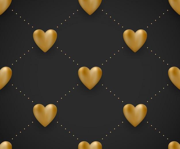 Naadloos patroon met gouden harten op een zwarte achtergrond voor valentine day. illustratie.