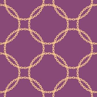 Naadloos patroon met gouden ketting. illustratie. decoratief element.