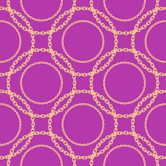 Naadloos patroon met gouden ketting. illustratie.