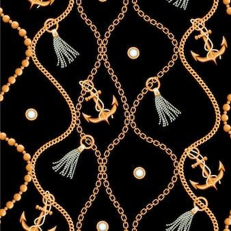 Naadloos patroon met gouden ketting