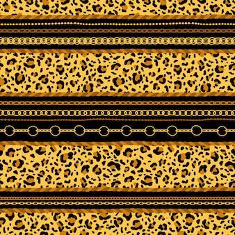 Naadloos patroon met gouden kettingen