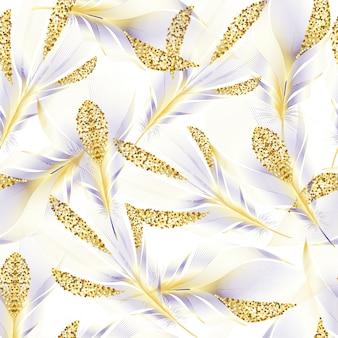 Naadloos patroon met gouden veren van vogels. herhalen.