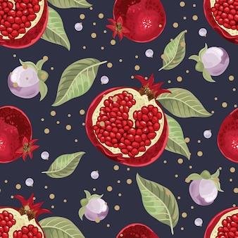 Naadloos patroon met granaatappel en bladeren