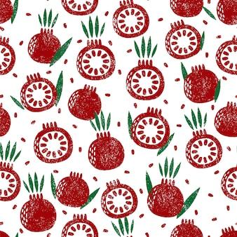 Naadloos patroon met granaatappel