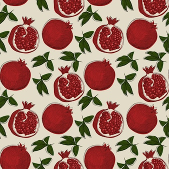 Naadloos patroon met granaatappelfruit in hand getrokken schetsstijl. kan worden gebruikt voor label, banner, stof, tafelkleed, cadeaupapier of iets anders