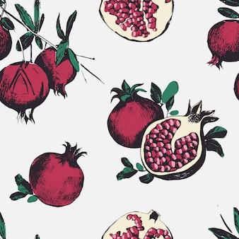 Naadloos patroon met granaatappels.