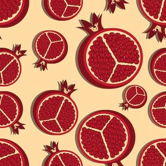 Naadloos patroon met granaatappelsillustratie