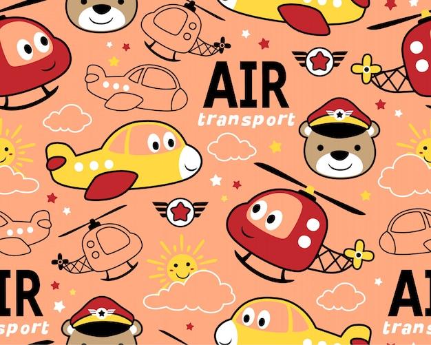 Naadloos patroon met grappig luchtvervoer
