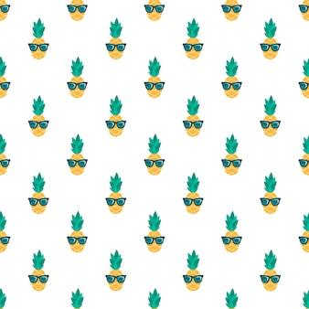 Naadloos patroon met grappige ananas