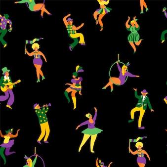Naadloos patroon met grappige dansende mannen en vrouwen in heldere kostuums