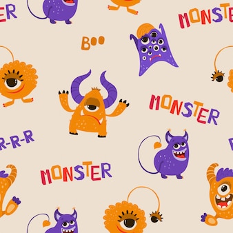 Naadloos patroon met grappige monsters in cartoon stijl.
