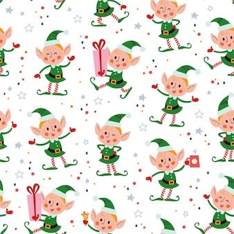 Naadloos patroon met grappige santa elfen karakters in hoeden met geschenkdoos, ring bell, warme chocolademelk beker. voor kerstkaarten, uitnodigingen, verpakkingspapier enz. platte cartoon vectorillustratie.