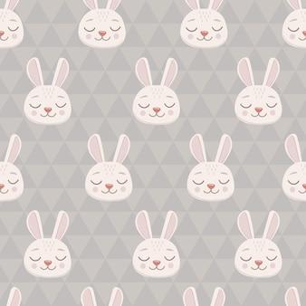Naadloos patroon met grijs konijntjeshoofdgezicht met gesloten ogen leuk grappig stripfiguur