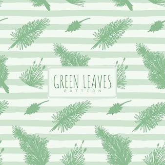Naadloos patroon met groene bladeren